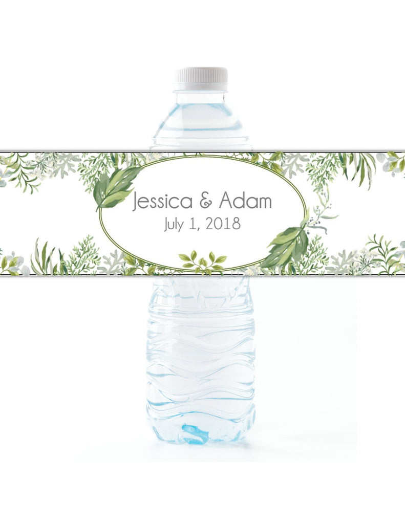 Botanical Greenery Water Bottle Labels - Cathy's Creations - www.candywrappershop.com