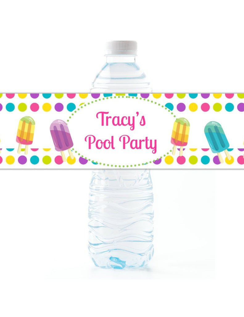 Ice Pop Party Water Bottle Labels - Cathy's Creations - www.candywrappershop.com