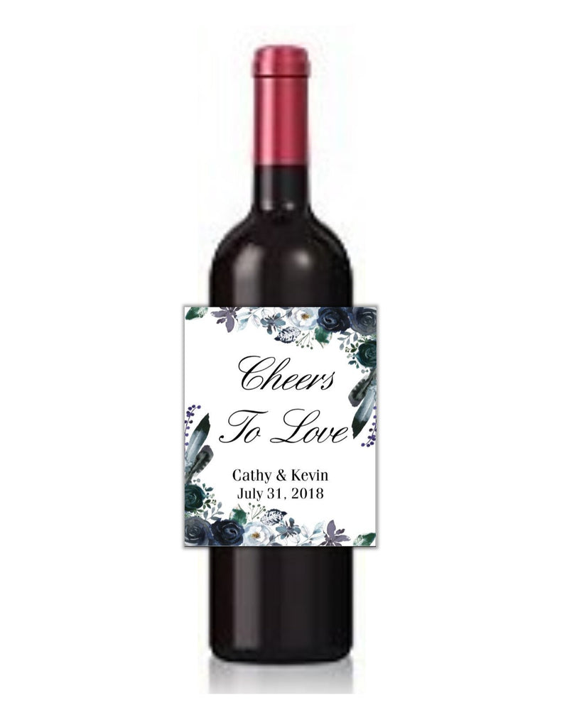 Navy Floral Wine Bottle Labels - Cathy's Creations - www.candywrappershop.com