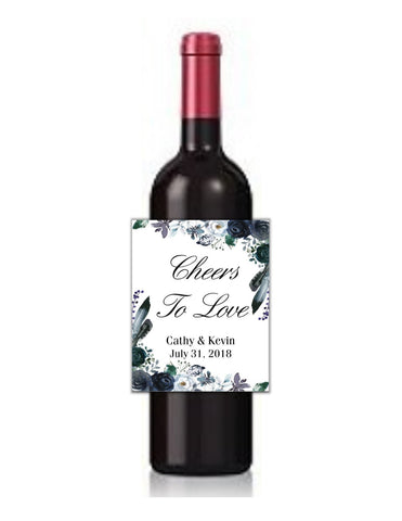 Navy Floral Wine Bottle Labels-Wine Labels-Cathy's Creations - www.candywrappershop.com