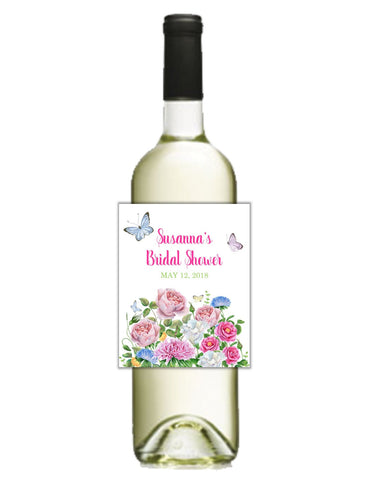 Flowers and Butterflies Wine Bottle Labels - Cathy's Creations - www.candywrappershop.com