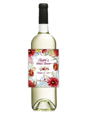 Bold Floral Wine Bottle Labels - Cathy's Creations - www.candywrappershop.com