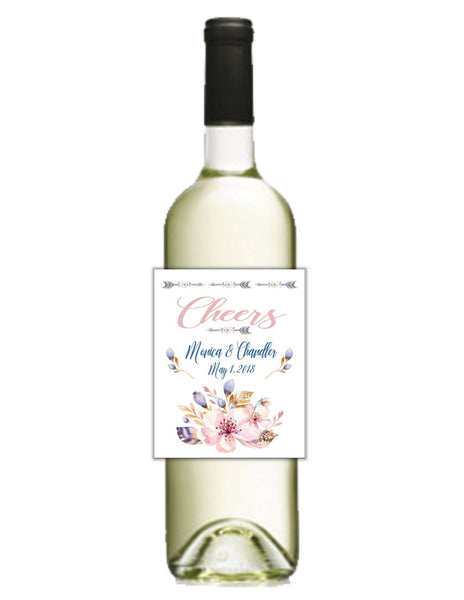 Floral Boho Wine Bottle Labels - Cathy's Creations - www.candywrappershop.com