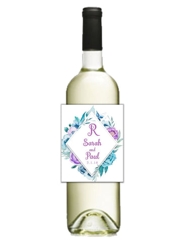 Purple Diamond Wreath Wine Bottle Labels Wine Labels- Cathy's Creations - www.candywrappershop.com