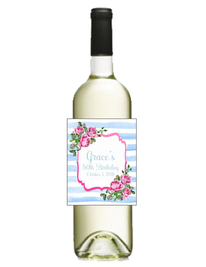 Pink and Blue Floral Wine Bottle Labels - Cathy's Creations - www.candywrappershop.com