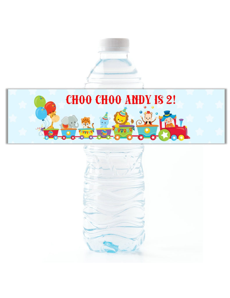 Circus Animal Train Water Bottle Labels - Cathy's Creations - www.candywrappershop.com