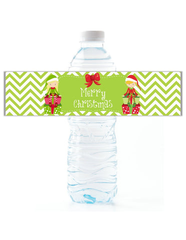 Christmas Elf Water Bottle Labels - Cathy's Creations - www.candywrappershop.com