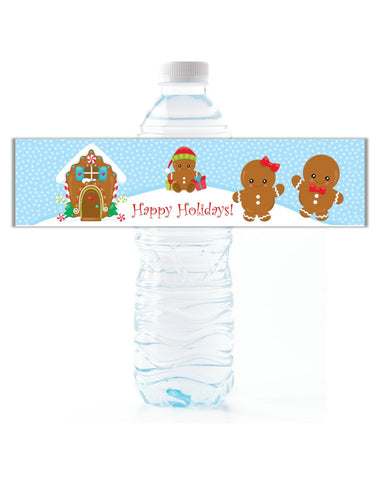 Gingerbread Man Water Bottle Labels - Cathy's Creations - www.candywrappershop.com