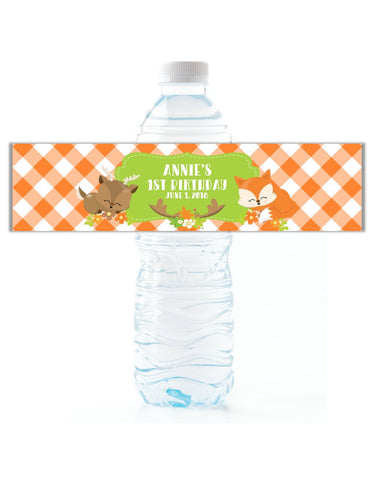 Woodland Creatures Plaid Water Bottle Labels - Cathy's Creations - www.candywrappershop.com