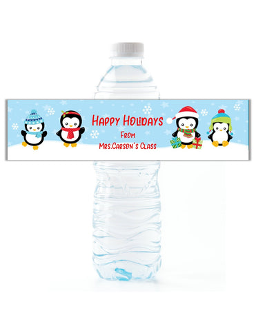 Christmas Penguin Water Bottle Labels - Cathy's Creations - www.candywrappershop.com