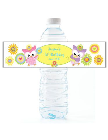 Owl Theme Water Bottle Labels - Cathy's Creations - www.candywrappershop.com