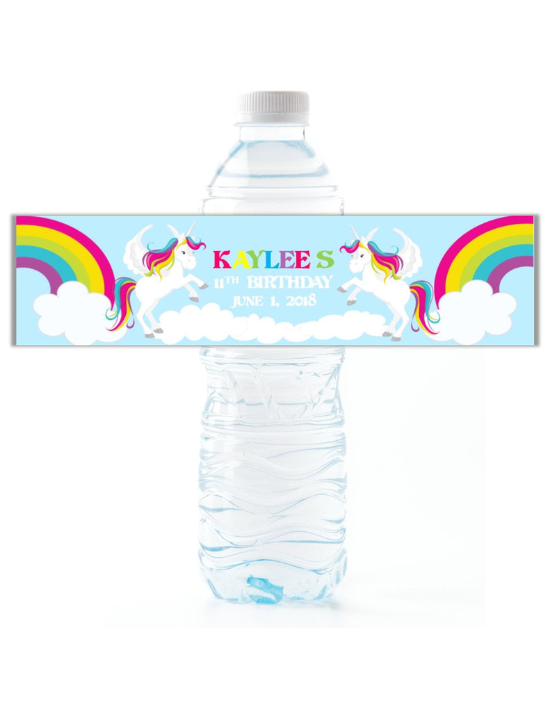 Rainbow Unicorn Water Bottle Labels - Cathy's Creations - www.candywrappershop.com