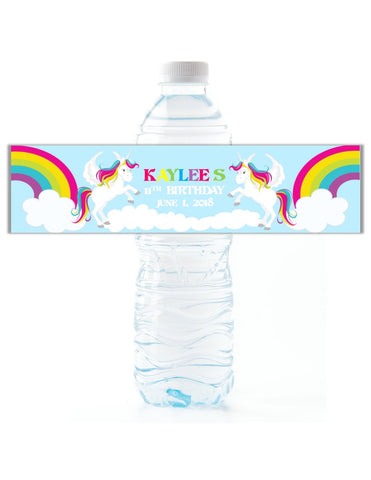 Rainbow Unicorn Water Bottle Labels Water Bottle Labels- Cathy's Creations - www.candywrappershop.com