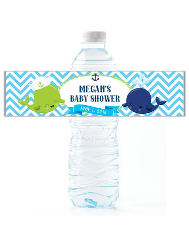 Blue Whale Water Bottle Labels - Cathy's Creations - www.candywrappershop.com