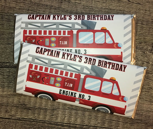 Firetruck Candy Bar Wrapper - Cathy's Creations - www.candywrappershop.com
