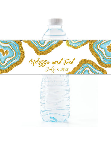 Agate Geode Water Bottle Labels - Cathy's Creations - www.candywrappershop.com