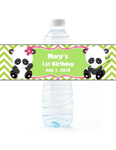 Panda Water Bottle Labels - Cathy's Creations - www.candywrappershop.com