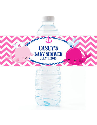 Pink Whale Water Bottle Labels Water Bottle Labels- Cathy's Creations - www.candywrappershop.com