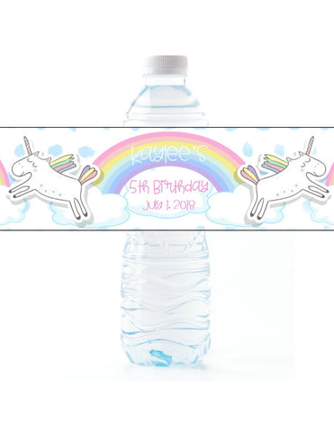 Pastel Unicorn Rainbow Water Bottle Labels Water Bottle Labels- Cathy's Creations - www.candywrappershop.com