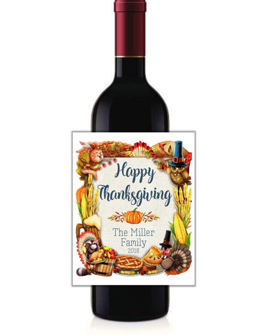 cathy-wraps - Thanksgiving Harvest Wine Bottle Labels - Wine Labels