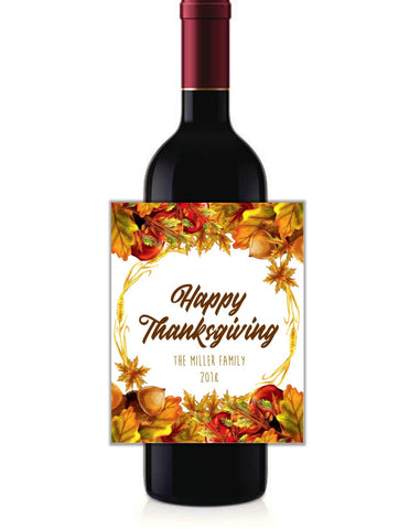 cathy-wraps - Thanksgiving Floral Wine Bottle Labels - Wine Labels