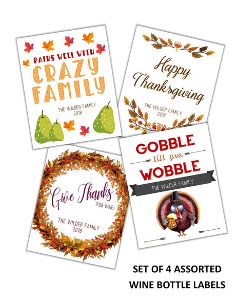 Thanksgiving Fun Wine Bottle Labels - Cathy's Creations - www.candywrappershop.com