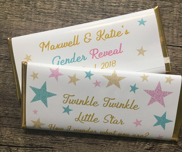 Twinkle Little Star Gender Reveal Candy Bar Wrapper - Cathy's Creations - www.candywrappershop.com