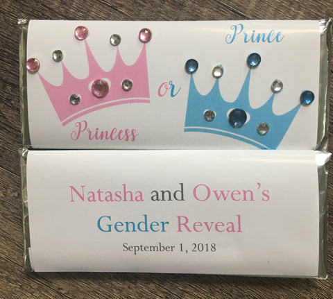 Prince or Princess Bling Gender Reveal Candy Bar - Cathy's Creations - www.candywrappershop.com