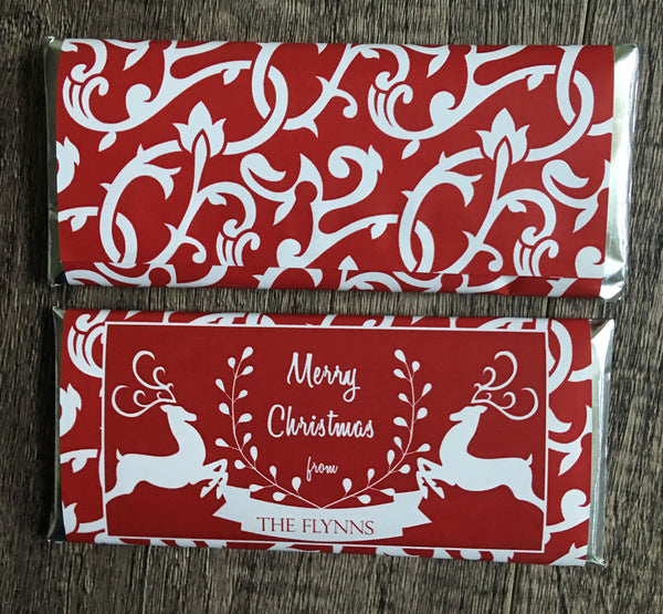 Red Reindeer Candy Bar Wrapper-Candy Bar Wrapper-Cathy's Creations - www.candywrappershop.com