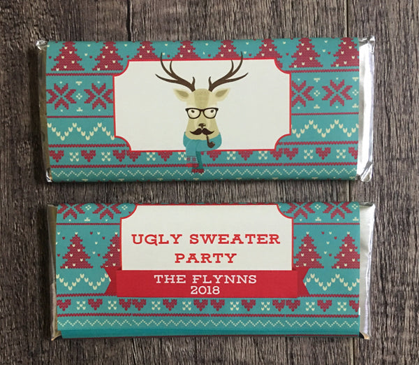 Hipster Reindeer Christmas Candy Bar Wrapper - Cathy's Creations - www.candywrappershop.com