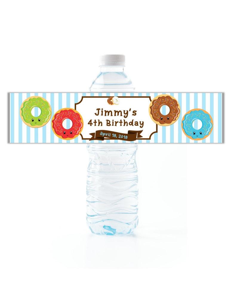Donut Water Bottle Labels Blue - Cathy's Creations - www.candywrappershop.com