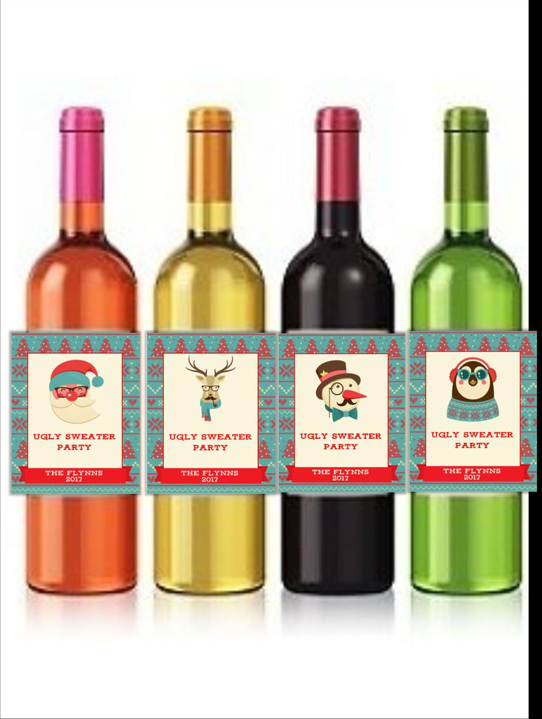 Ugly Christmas Sweater Wine Bottle Labels - Cathy's Creations - www.candywrappershop.com
