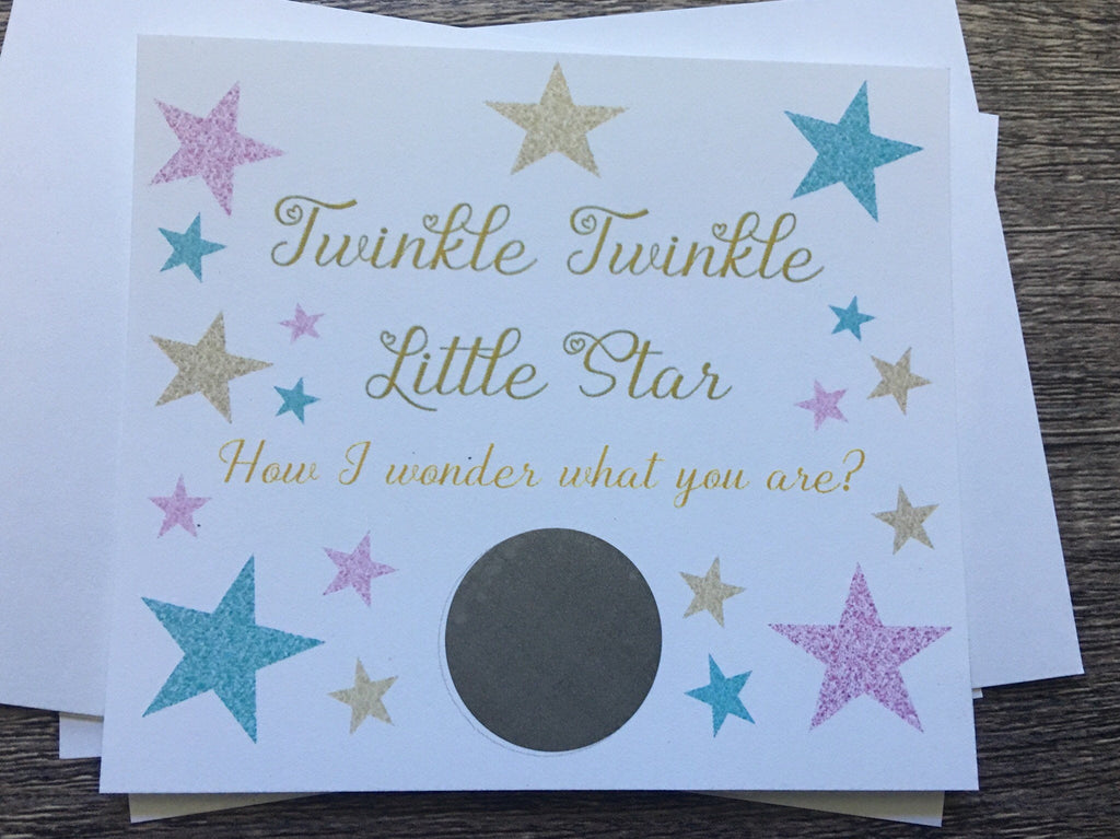 Twinkle Star Gender Reveal Scratch off Cards - Cathy's Creations - www.candywrappershop.com