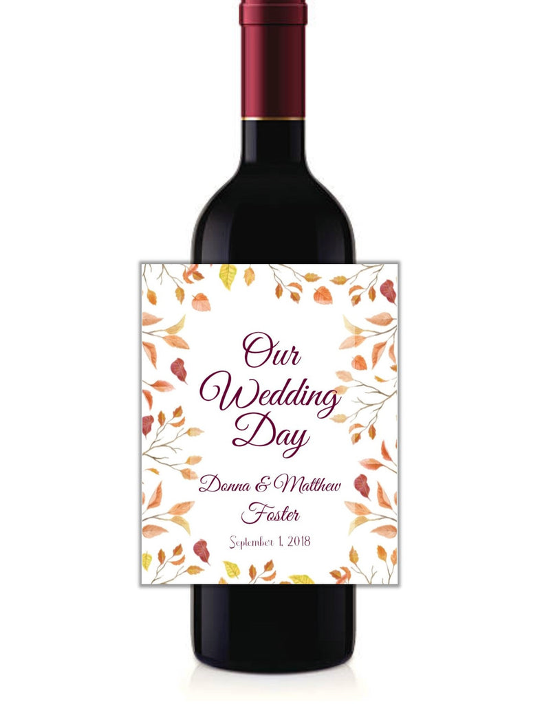 Fall Leaves Wine Bottle Labels - Cathy's Creations - www.candywrappershop.com