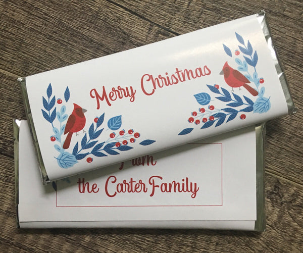 Christmas Cardinal Candy Wrapper Candy Bar Wrapper- Cathy's Creations - www.candywrappershop.com