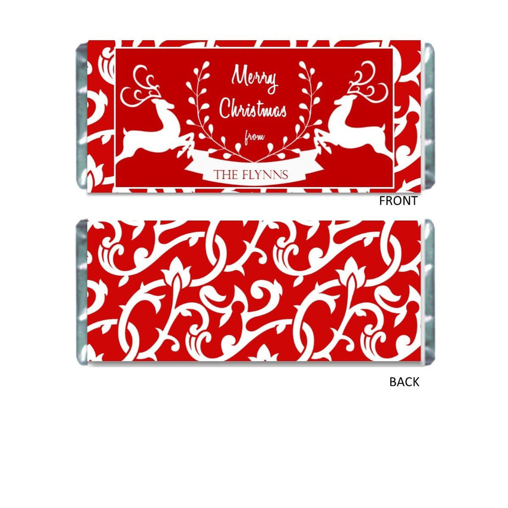 Red Reindeer Candy Bar Wrapper - Cathy's Creations - www.candywrappershop.com