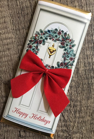 Christmas Door Candy Wrapper Candy Bar Wrapper- Cathy's Creations - www.candywrappershop.com
