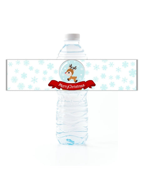 Christmas Snow Globe Water Bottle Labels - Cathy's Creations - www.candywrappershop.com