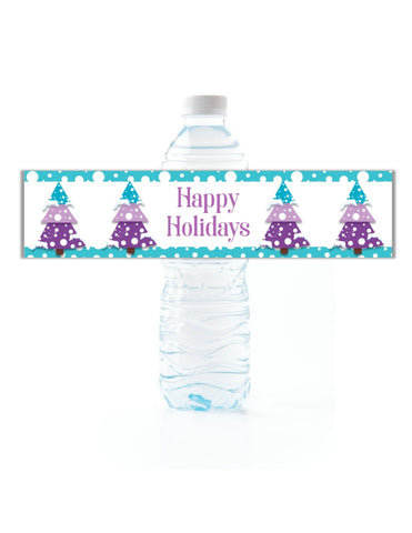 Christmas Tree Water Bottle Labels - Cathy's Creations - www.candywrappershop.com