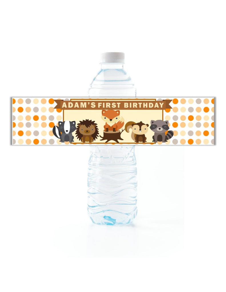 Woodland Creatures Dot Water Bottle Labels - Cathy's Creations - www.candywrappershop.com
