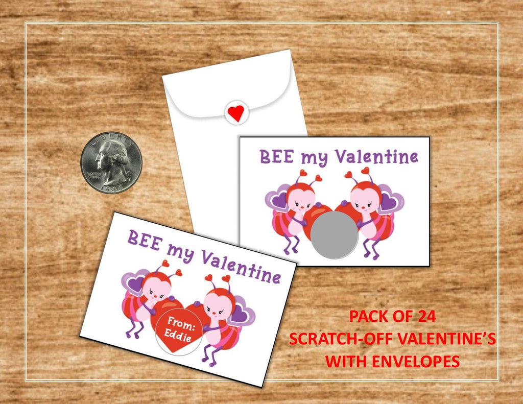 Bee Valentine's Day Scratch-Off Cards - Cathy's Creations - www.candywrappershop.com