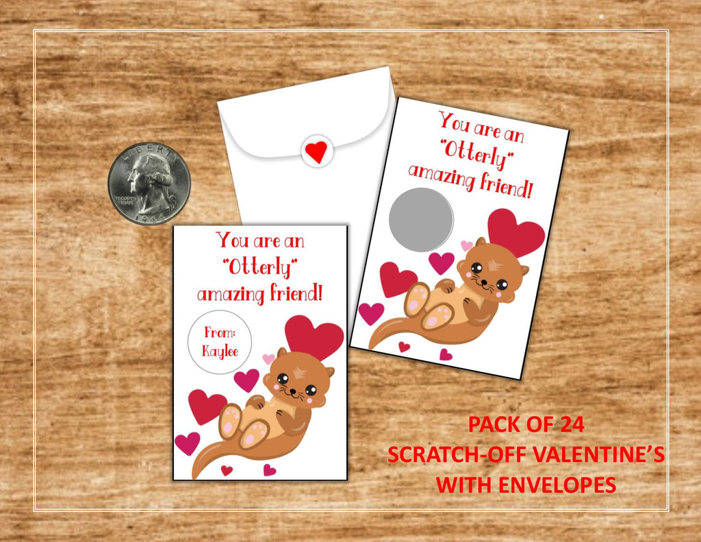 Otter Valentine's Day Scratch Off Cards - Cathy's Creations - www.candywrappershop.com
