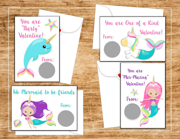 Mermaid Unicorn Valentine's Day Scratch Off Cards - Cathy's Creations - www.candywrappershop.com