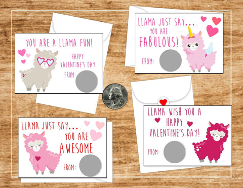 Llama Valentine's Day Scratch Off cards - Cathy's Creations - www.candywrappershop.com