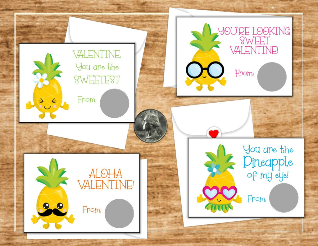 Pineapple Valentine's Day Scratch Off Cards - Cathy's Creations - www.candywrappershop.com