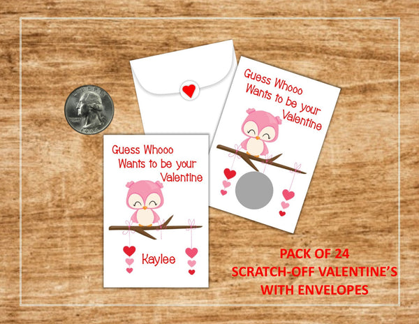 Owl Valentine's Day Scratch Off Cards - Cathy's Creations - www.candywrappershop.com
