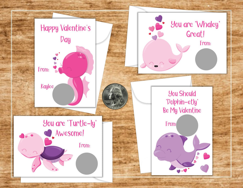 Under the Sea Pink Valentine's Day Scratch Off Cards - Cathy's Creations - www.candywrappershop.com