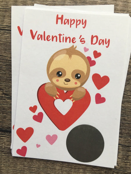 Sloth Valentine's Day Scratch off Cards - Cathy's Creations - www.candywrappershop.com