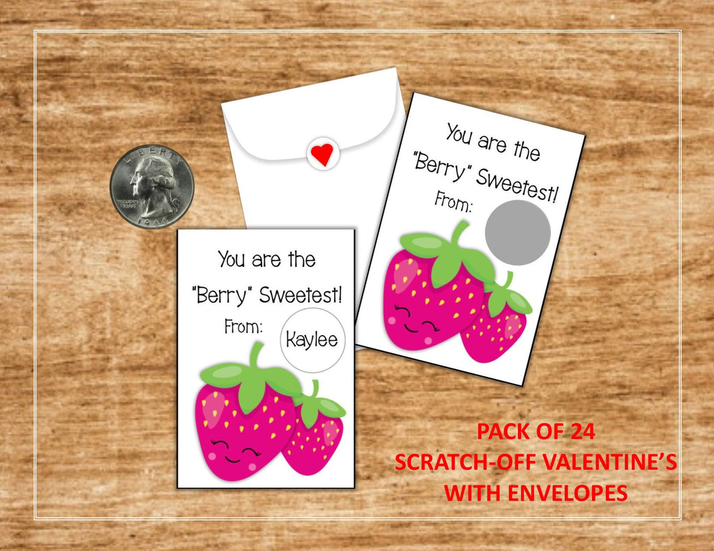 Strawberry Valentine's Day Scratch Off Cards - Cathy's Creations - www.candywrappershop.com