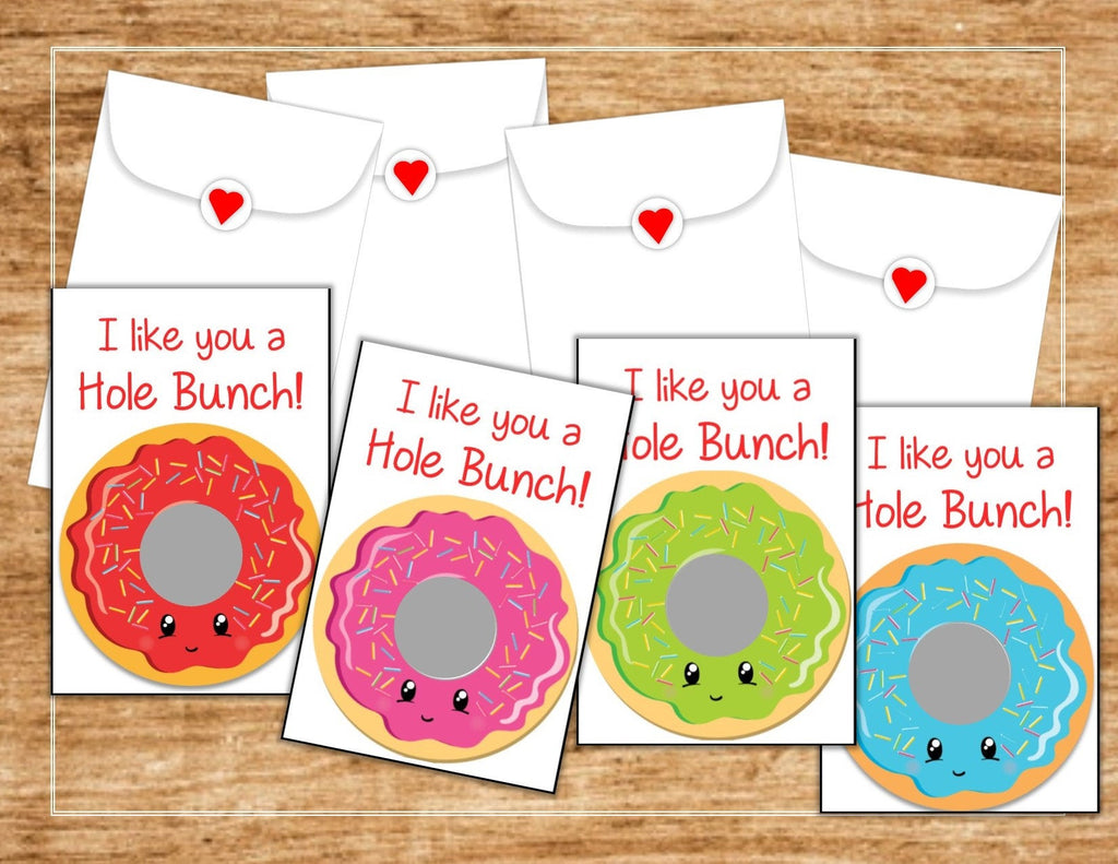 Donut Valentine's Day Scratch Off Cards - Cathy's Creations - www.candywrappershop.com